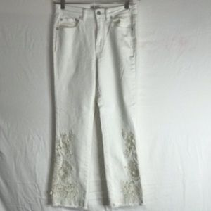Free People Women Jean White Laser Cut Lace 28